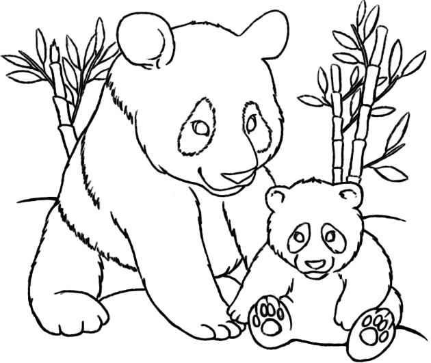Mom And Baby Panda Coloring Pages