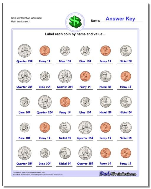 Money Teaching Value Worksheets Coin Identification V Division Of