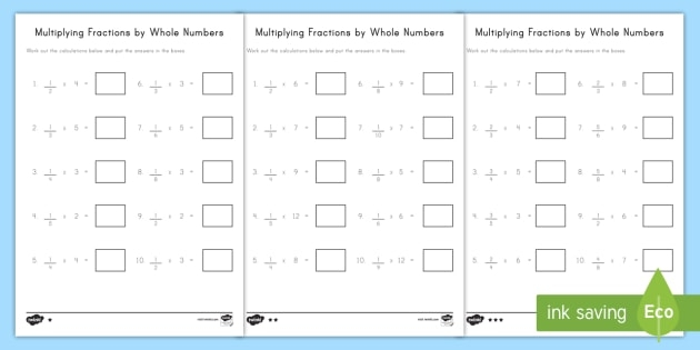 Multiplying Fractions By Whole Numbers Activity