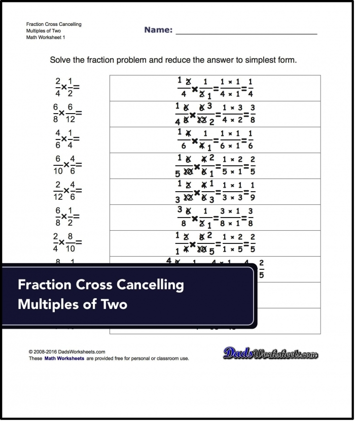 Multiplying Fractions Worksheets Fraction Multiplication With A