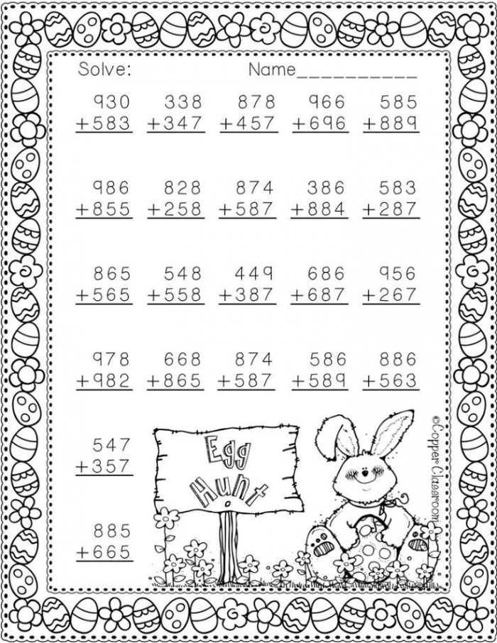 Nbt Easter Themed  Digit Addition With Regrouping In