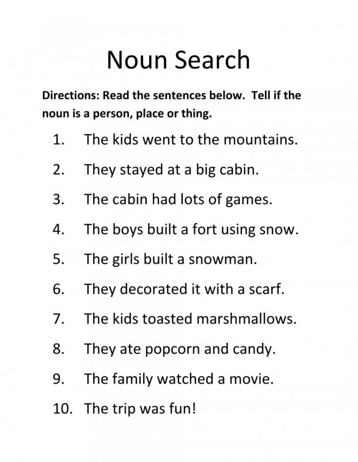 Noun Search Worksheet