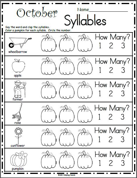October Syllables Worksheet