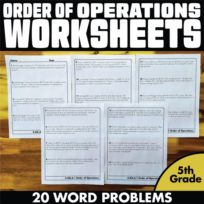 Order Of Operations Worksheets Word Problems Th Grade In