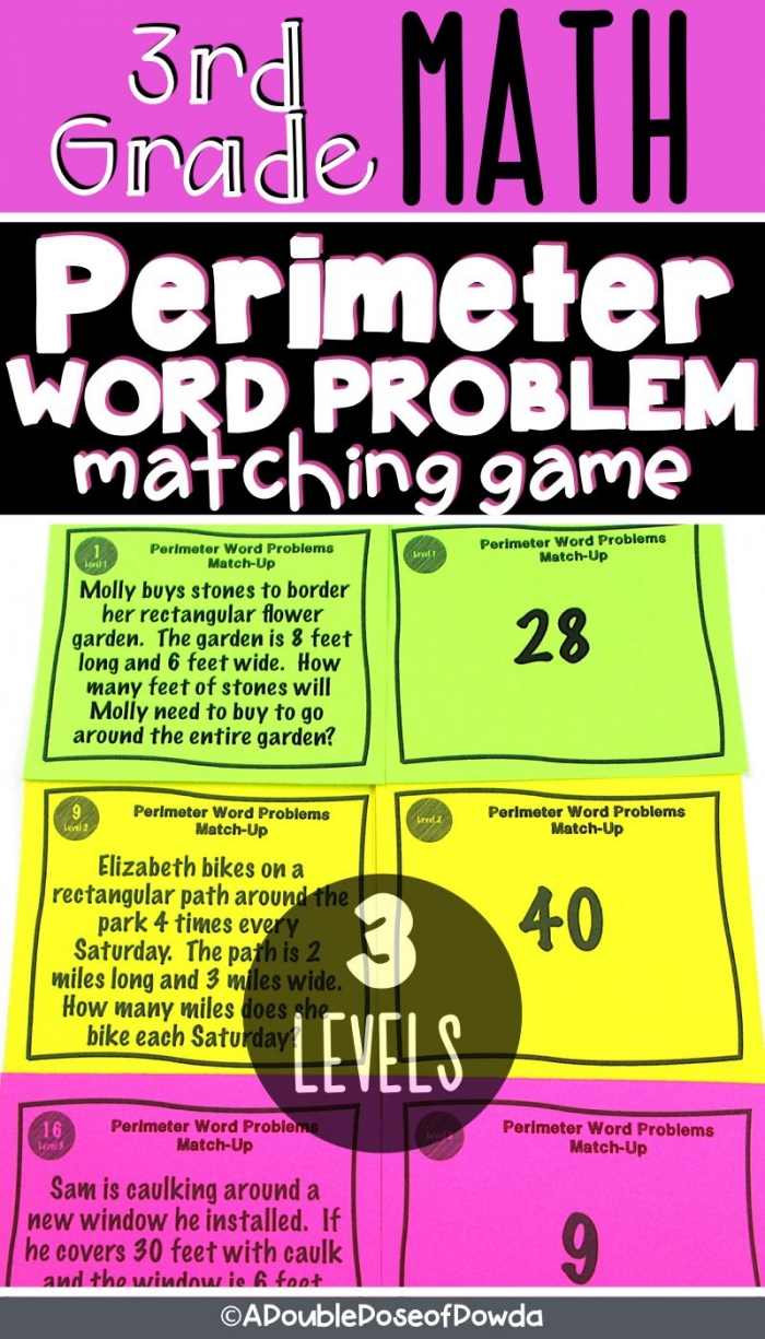 Perimeter Word Problems Matching Activity Game