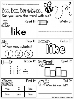 "Learning Sight Words: ""Like"""