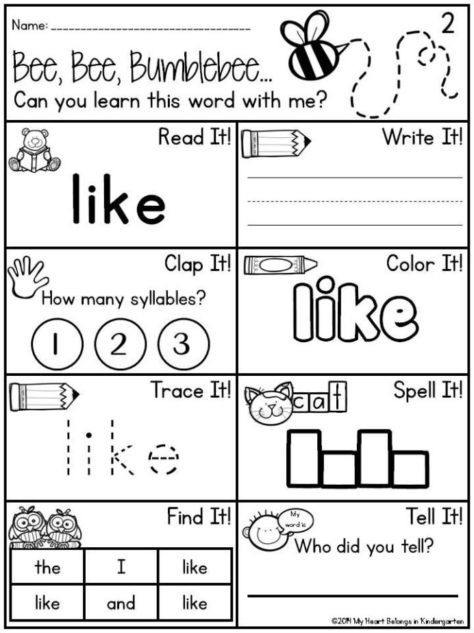 Pin On Kindergarten Sight Word Worksheets Dr Mikes Math Games