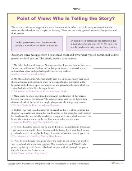 Point Of View Worksheets Is Telling The Th Grade Multiplying