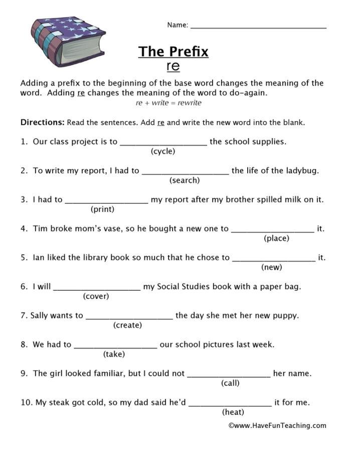 Prefix Re Worksheet Have Fun Teaching English Worksheets Second
