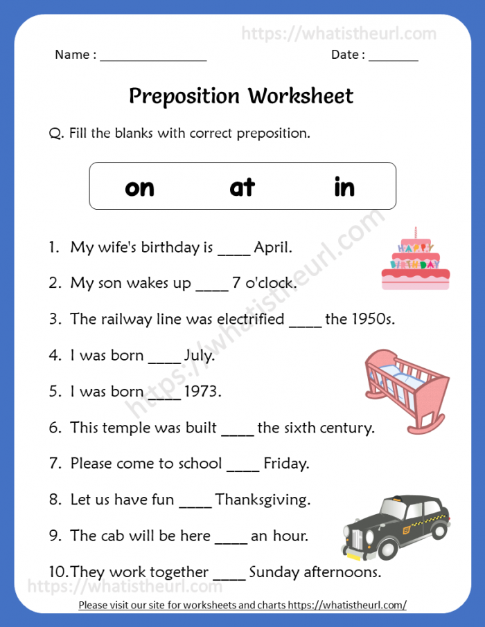 Preposition Worksheets For Th Grade
