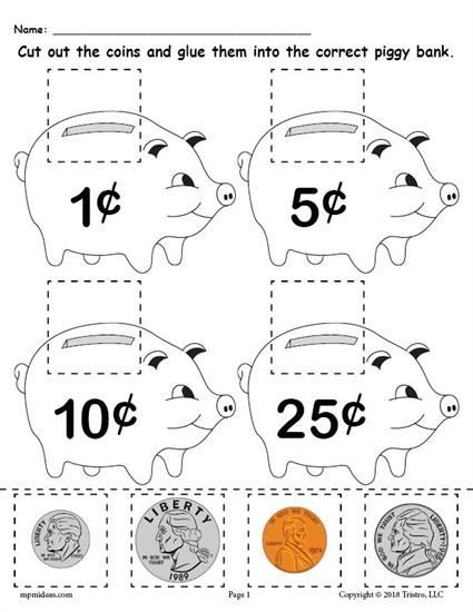 Printable Money Matching Worksheet With Coins
