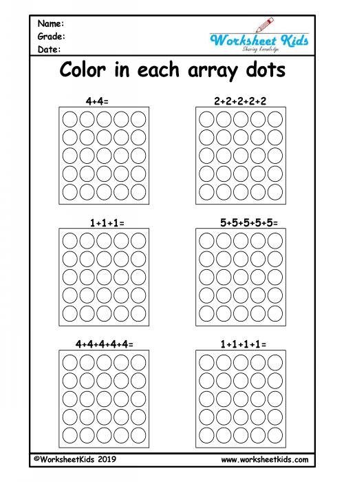 Repeated Addition Arrays Activities For Year      Worksheets
