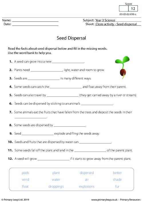 Science Cloze Activity Seed Dispersal Worksheet Primaryleap