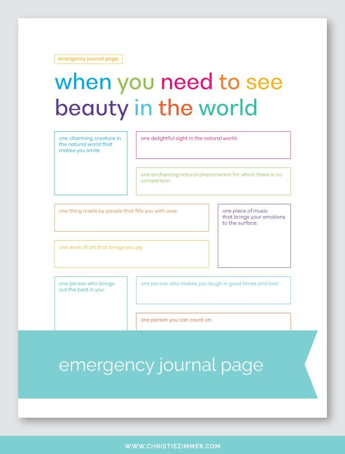 Seeing Beauty Printable Journal Page  Christie Zimmer