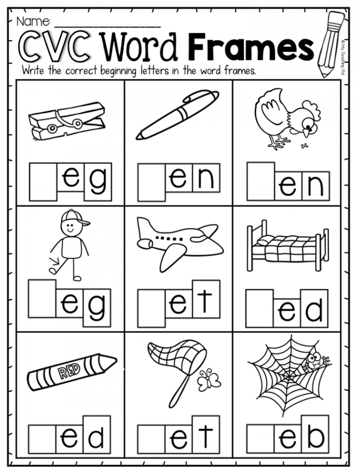 Short E Word Frames Worksheet This Short E Pack Provides Pages