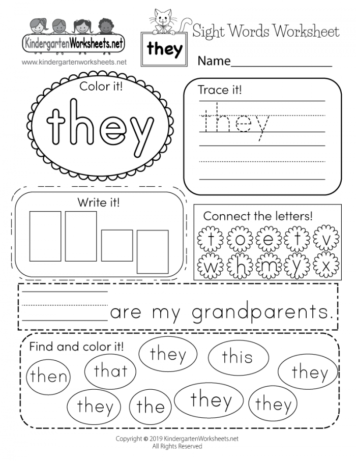 Sight Word They Worksheet