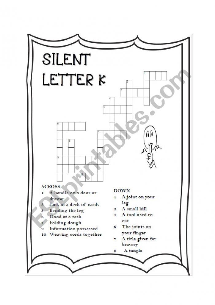 Silent Letter K Crossword