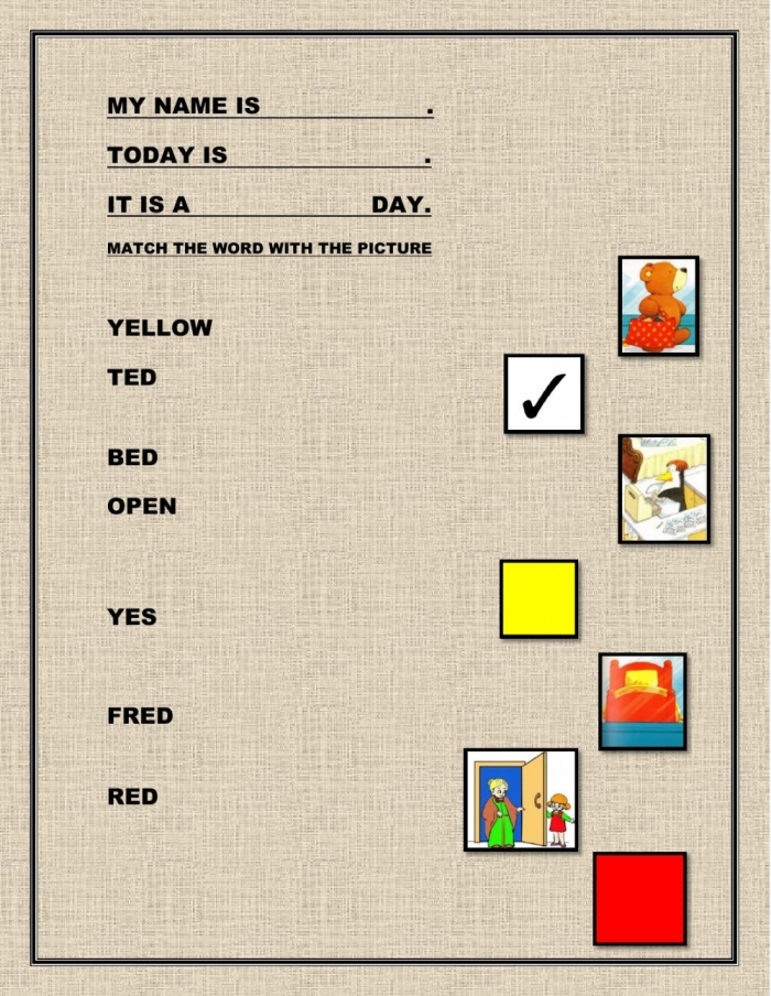 Ted In A Red Bed Vocabulary Worksheet