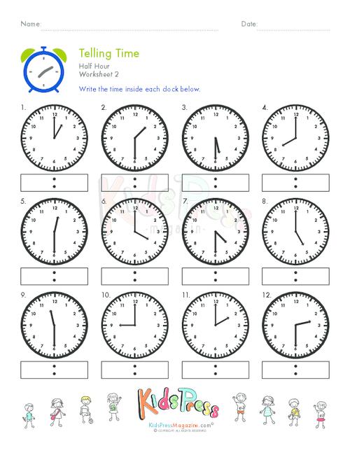 Telling Time Half Hour Worksheet