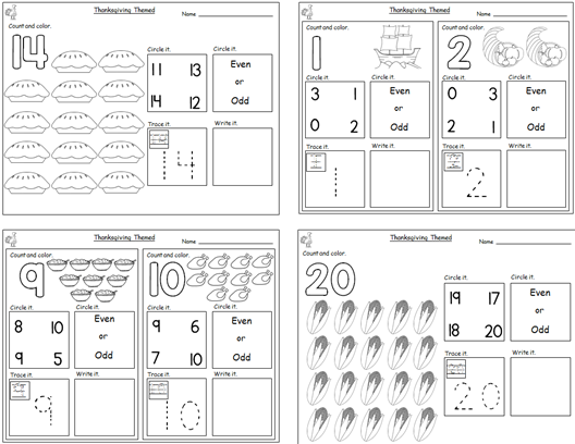Thanksgivingthemed Numbers Worksheets