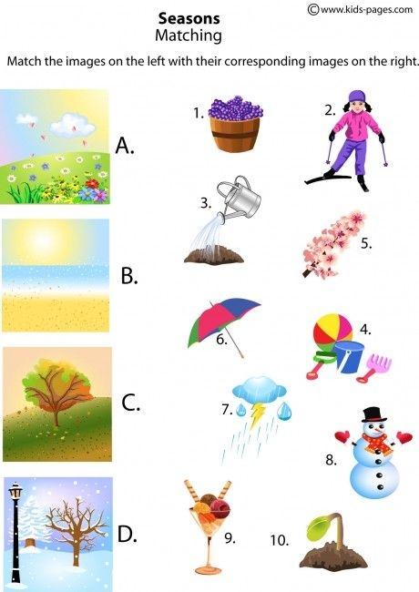 The Four Seasons Matching Worksheet