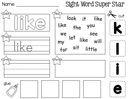 This Is A Worksheet For Learning The Sight Word Like Students