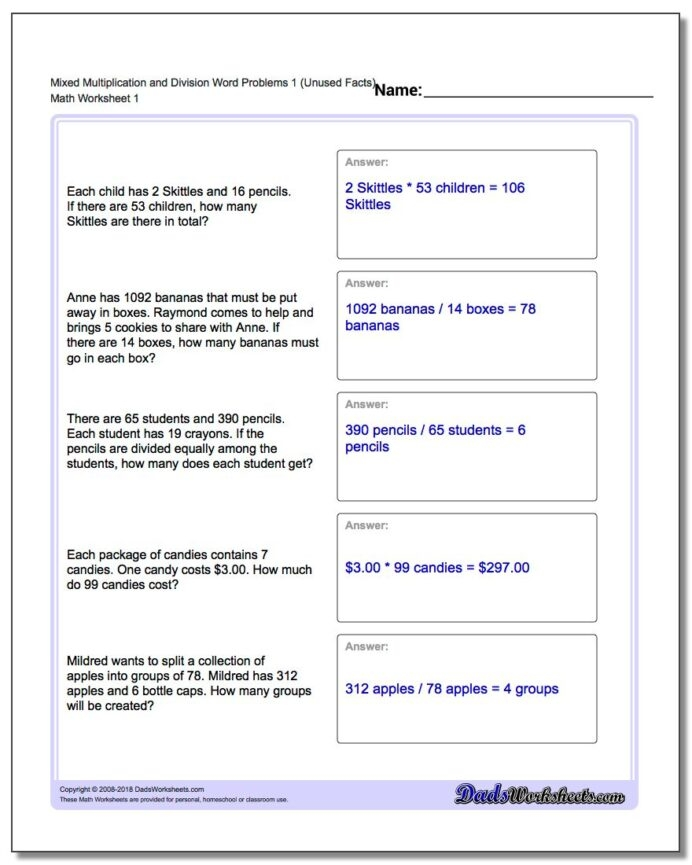 Word Problems Division Worksheets Extra Facts Mixed Multipy One V