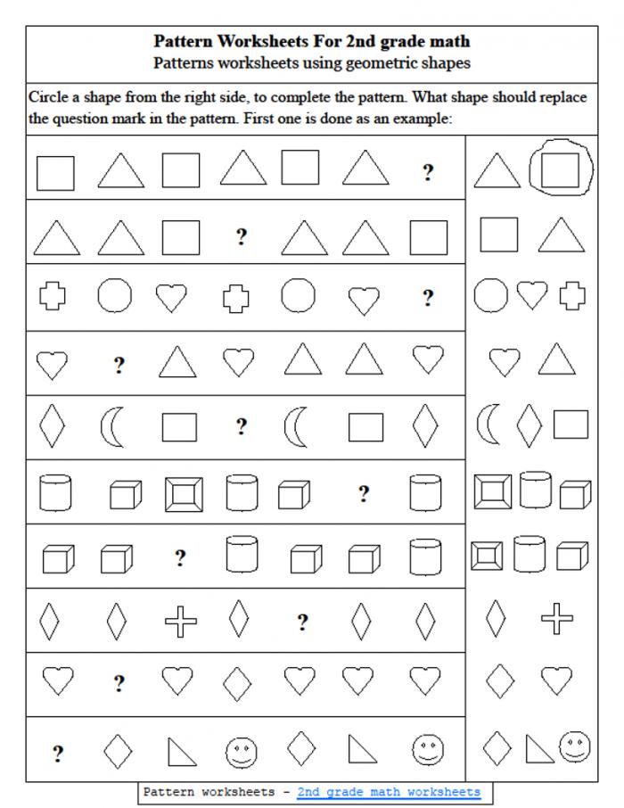 Worksheet  Nd Grade Math Pattern Worksheets Using Geometric