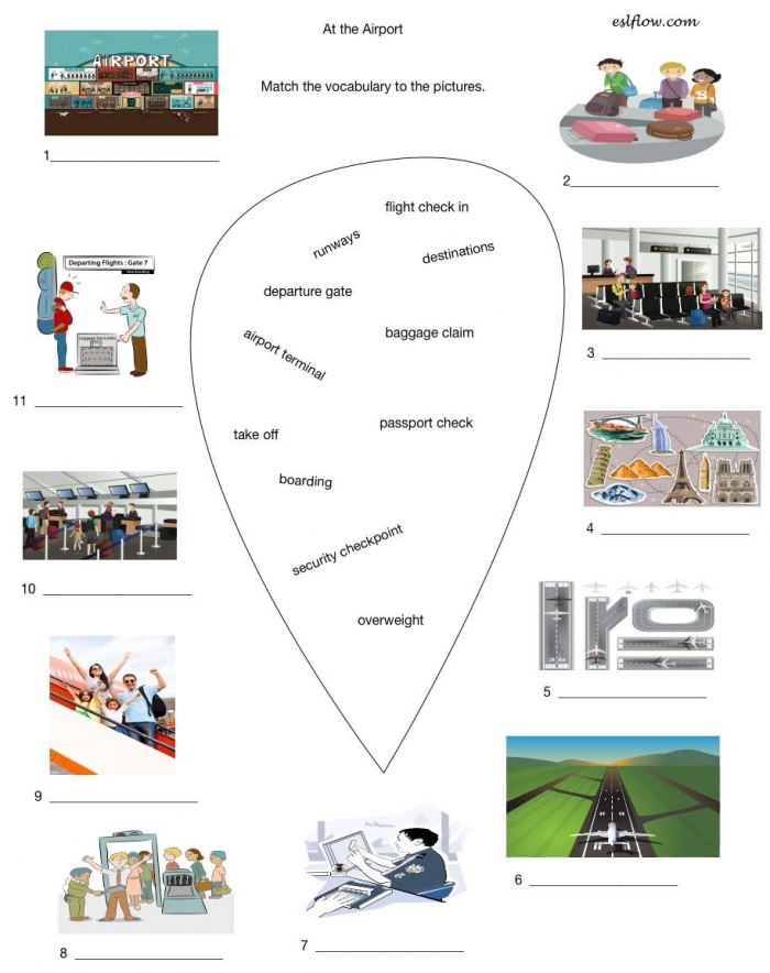 Worksheet To Teach Vocabulary Related To Airport