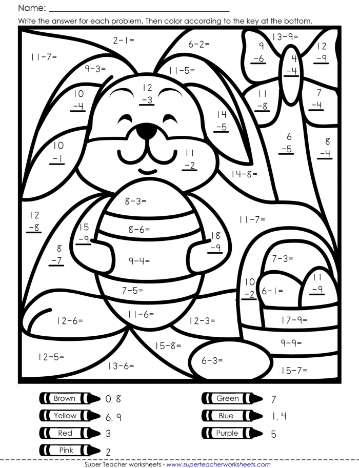 Worksheets  Coloring Book Easter Math Free Worksheets Th Grade