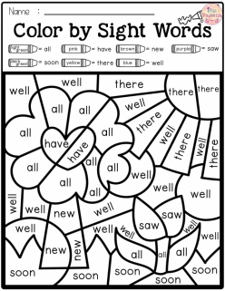 Color By Number: Sight Words