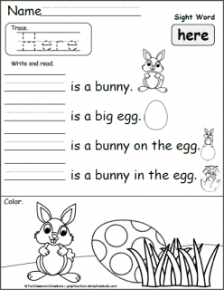 """Write The Sight Words: """"Here"""""""