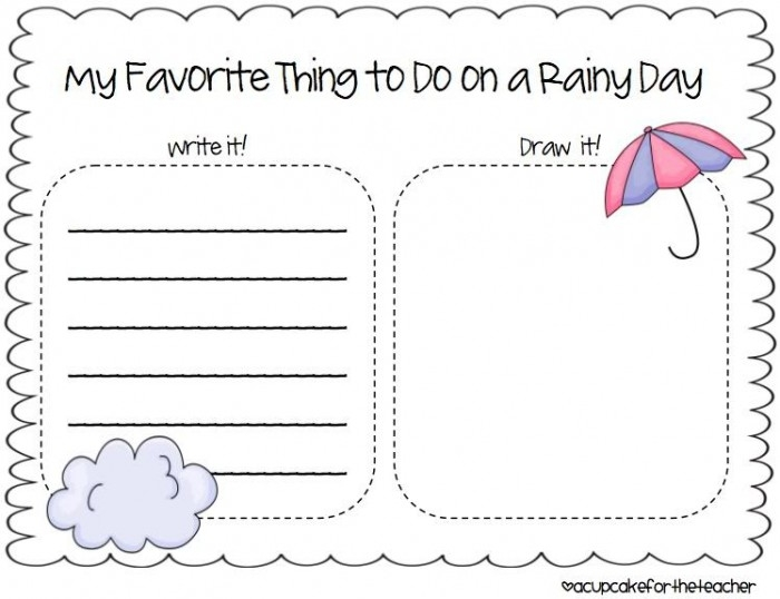Writing Prompt Rainy Day Worksheets