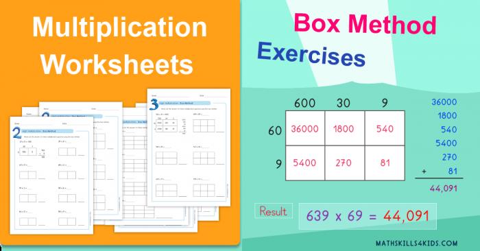 Box Method Multiplication Worksheets Pdf