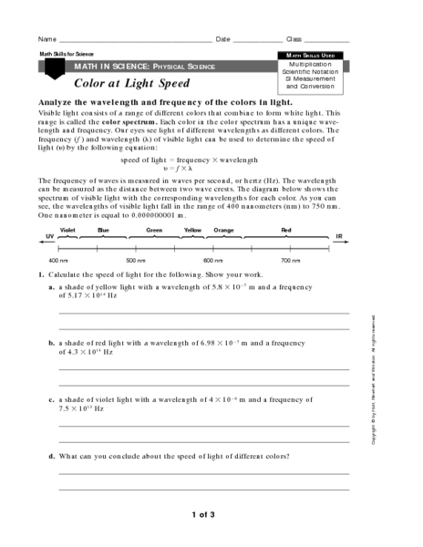 Color At Light Speed Worksheet For Th Th Grade Lesson Planet