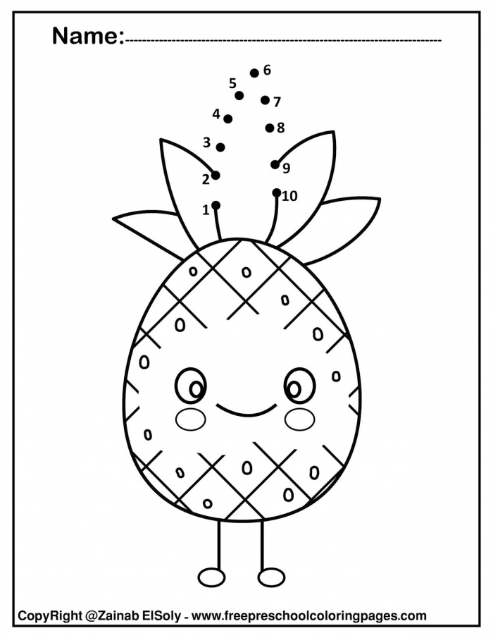 Coloring Pages  Set Of Kawaii Food Coloring For Kids Pineapple