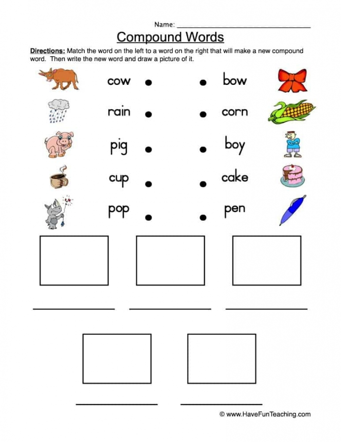 Compound Words Match Worksheet  Have Fun Teaching
