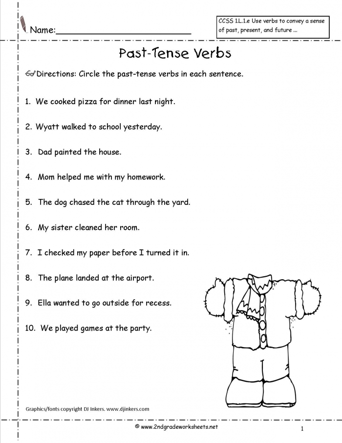 Past Tense Verbs Worksheets 99Worksheets