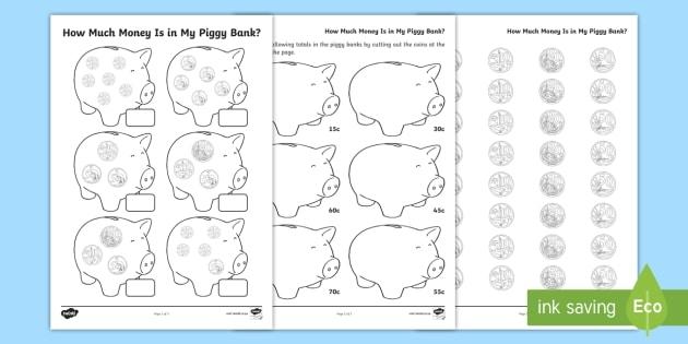 How Much Money Is In My Piggy Bank Worksheet Teacher Made