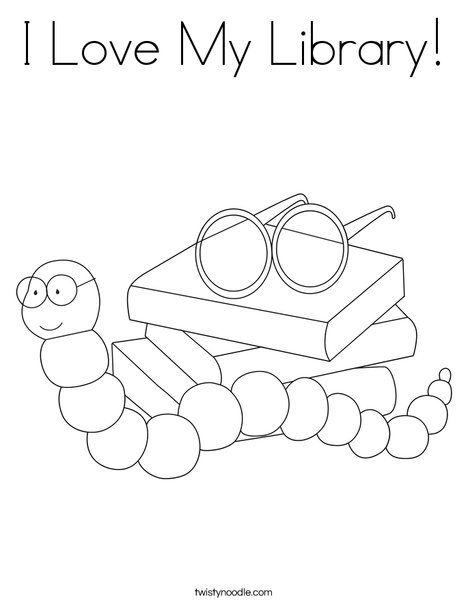 I Love My Library Coloring Page