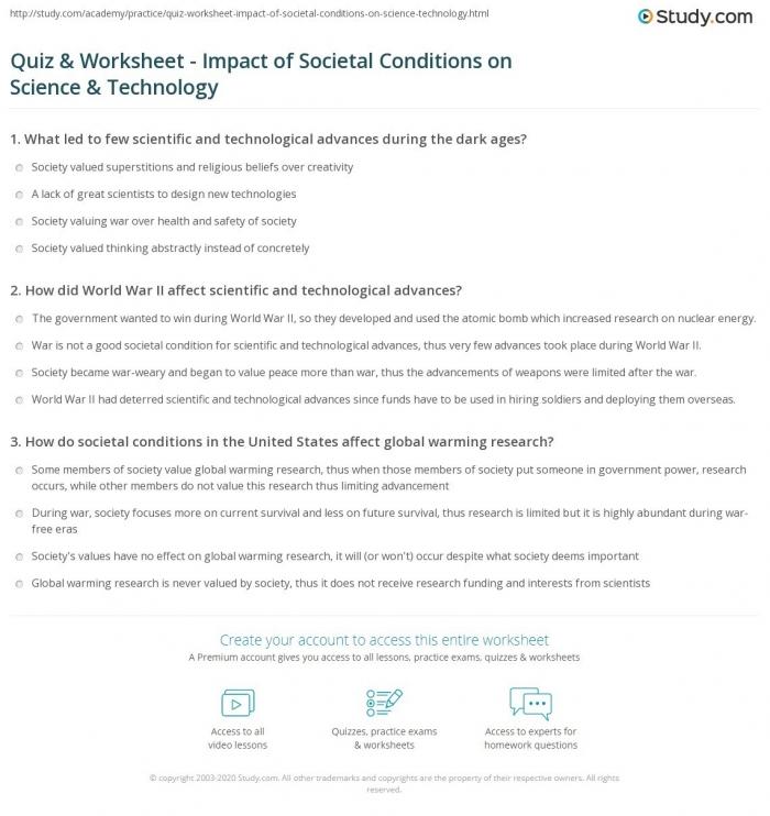 Impact Of Technology Worksheet