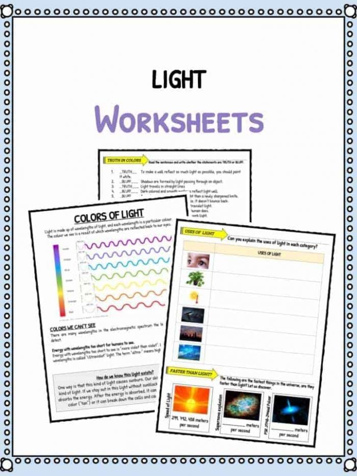 Light Facts   Worksheets For Kids