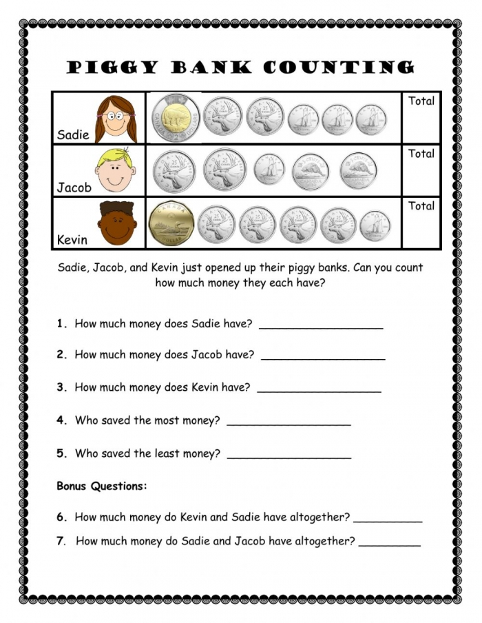 Piggy Bank Counting Worksheet