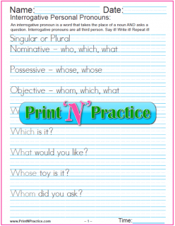 List Of Pronouns For Kids