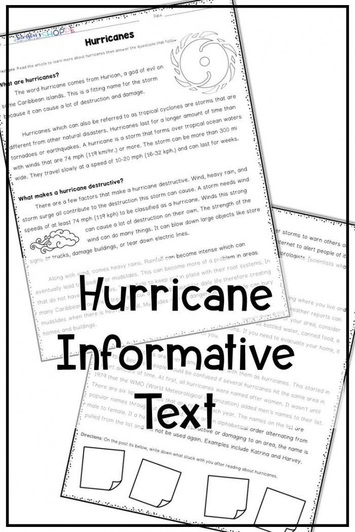 Reading Worksheets Wild Weather Hurricanes Informative Text Word