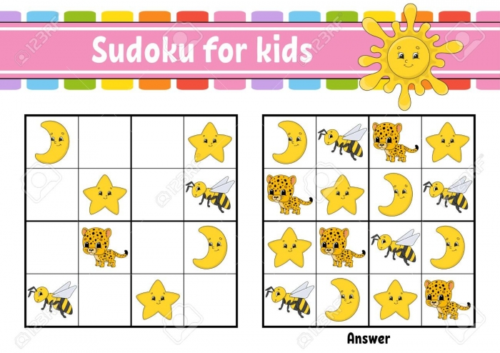 Sudoku For Kids Education Developing Worksheet Activity Page