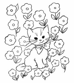 Color The Mommy Cat And Kittens