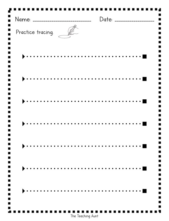 Tracing Lines Worksheets The Teaching Aunt Printable Free Th