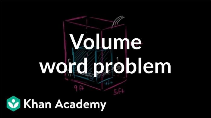 Volume Word Problem Water Tank Video