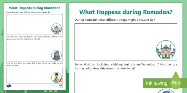 What Happens During Ramadan Worksheet
